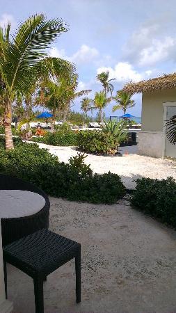 Sky Beach Club: View freom bungalow towards pool area