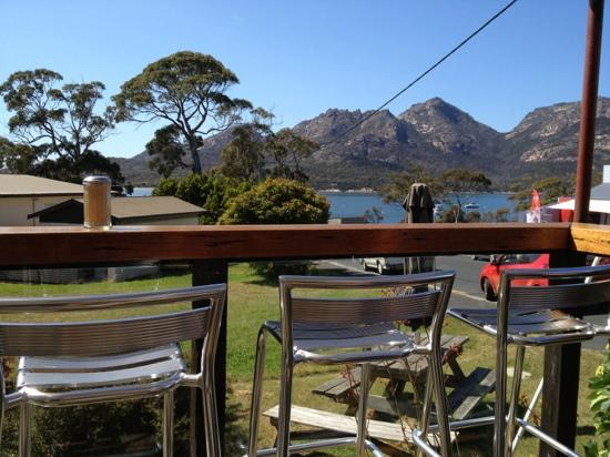 Tombolo Freycinet: view from our table