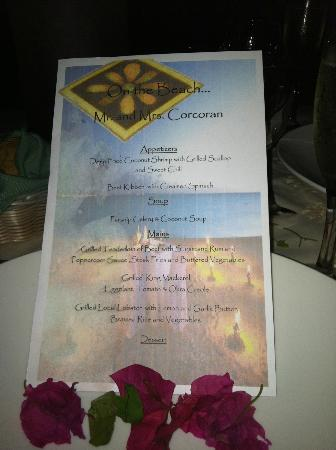 Cocobay Resort: Our dinner menu for