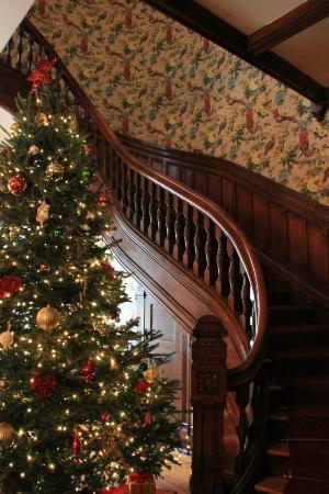 Beautiful Christmas tree and staircase at the Governor's House Inn