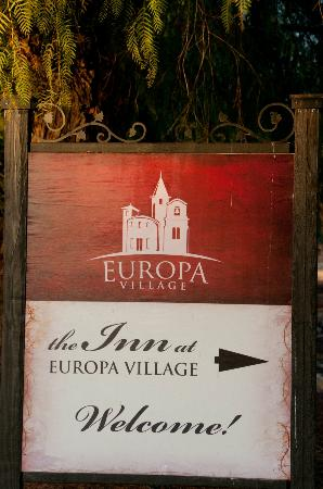 The INN at Europa Village: Sign to the Inn