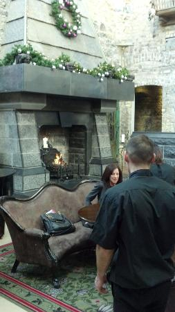 Clontarf Castle Hotel: The lobby fireplace