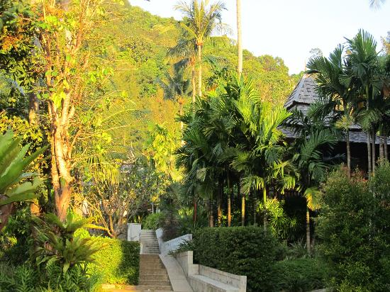 Phu Pi Maan Resort & Spa: View of the hotel garden, with the villas.