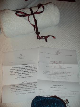 Hacienda Paradise Boutique Hotel by Xperience Hotels: All in the details: Welcome letter and letter to apologize for party being held by neighbors (Sa