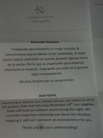Hacienda Paradise Boutique Hotel by Xperience Hotels: Letter apologizing for party at neighboring building. Nice detail!