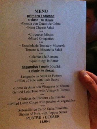 La Posada de Ariant Restaurant: Menu de la semaine