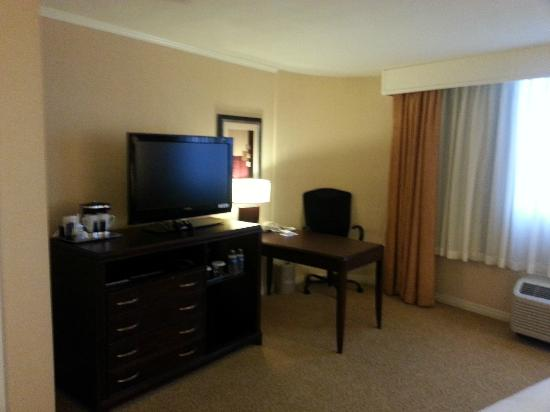 Hilton Chicago/Oak Lawn: TV and Desk Area