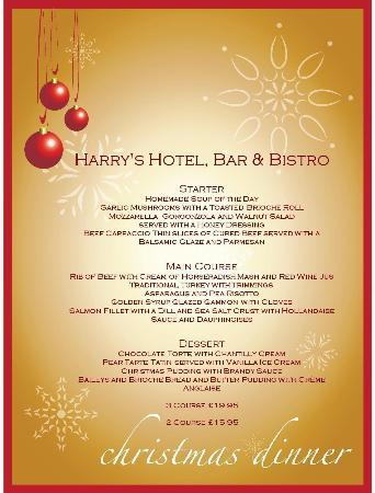 Restaurant at Harry's Aberystwyth: Christmas Menu