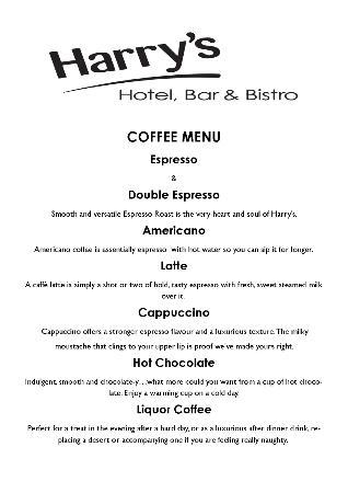 Restaurant at Harry's Aberystwyth: Coffee Menu