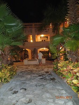 Northwest Point Resort: building entrance at night