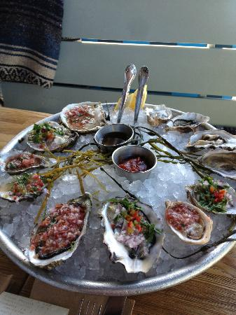 Blue Plate Oysterette : BP Oysters on the half shell with an array of sauces