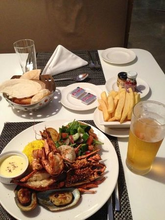 Dine: mixed seafood grill with steak fries
