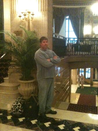 The Roosevelt Hotel: My happy husband waiting in the lobby !!!