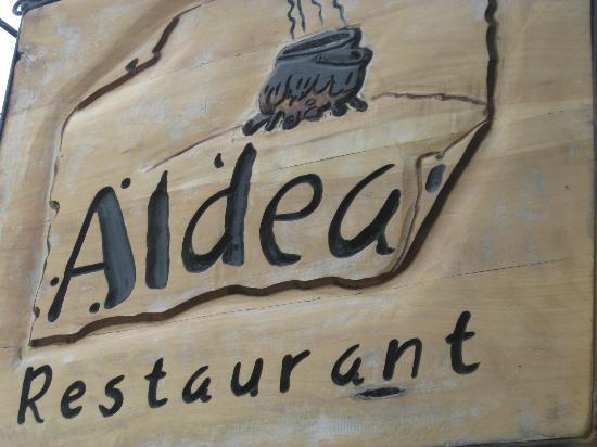 Aldea restaurant: signage