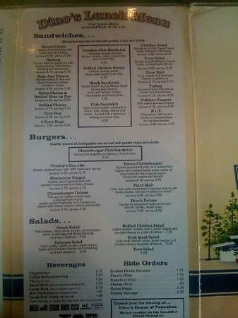 Dino's House of Pancakes: Lunch menu
