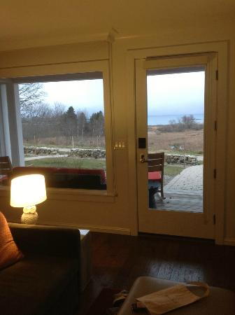 Inn By the Sea: front door and view of marshland with beach beyond
