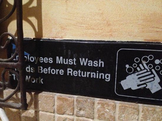 Hummus Place : good description on washroom ;-)