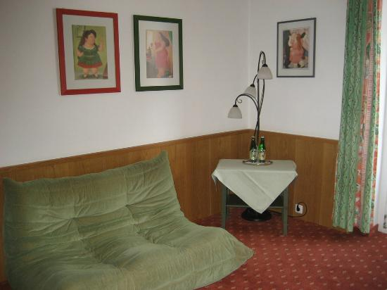 Zum Hirschen Gasthaus Hotel : We laughed about that green couch, but my husband promptly fell asleep on it..comfy!