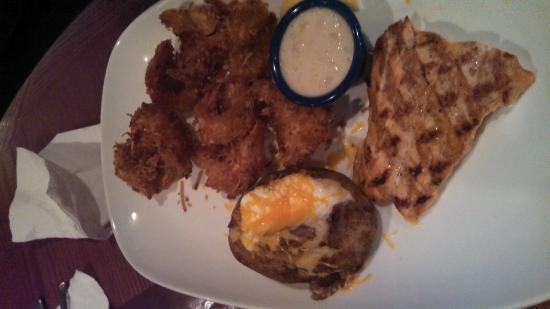 Red Lobster: Salmon, Coconut Shrimp & Baked Potatoe w/ Garden Salad