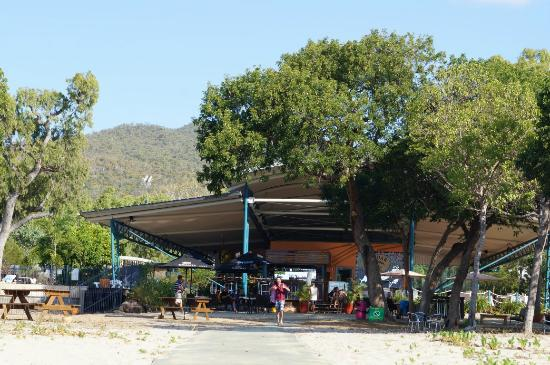 Cape Gloucester Eco-Resort: view from beach back to bar/dining