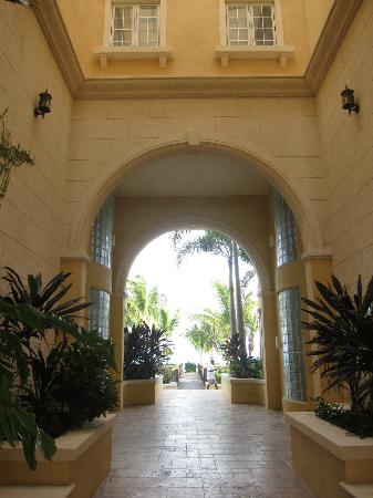 courtyard to the beach