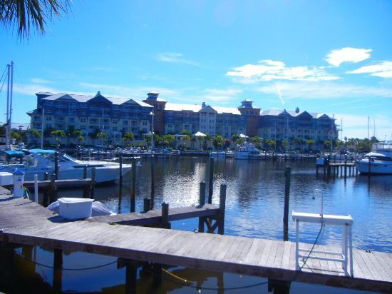 The Inn at Little Harbor: View of buildings A, B, and C from across the marina