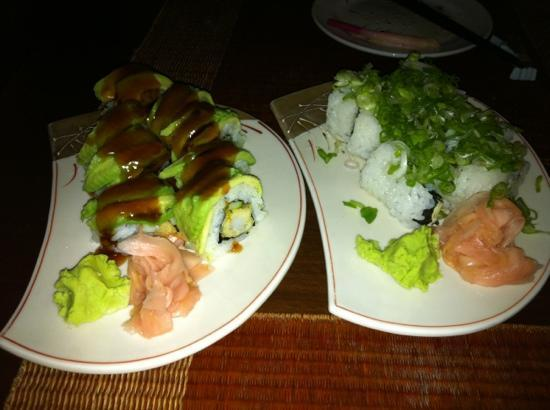The Japanese Restaurant: ebi roll (with avocado) and spicy tuna roll