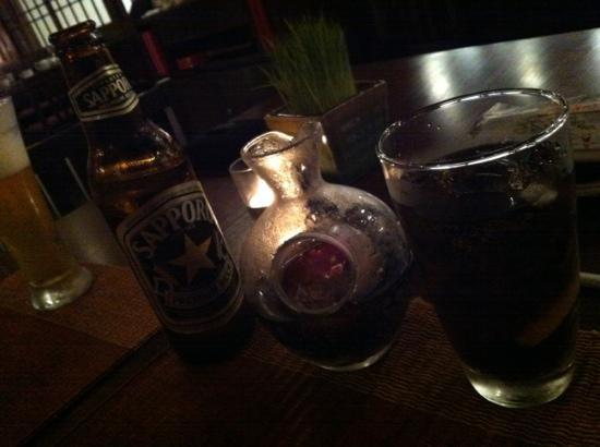 The Japanese Restaurant: Sapporo and diet coke in fancy decanter
