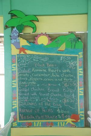 Nisbet Plantation Beach Club: Lunch board