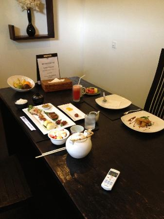 The Seiryu Villas: The breakfast setup that greets you each morning!