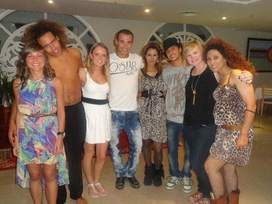 Iberostar Diar El Andalous: Me, my cousin and friend with the Animation team on our last night after the show