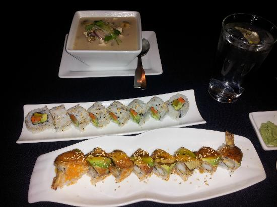 My Plate Asian Fusion and Bar: Coconut Soup and Sushi Rolls