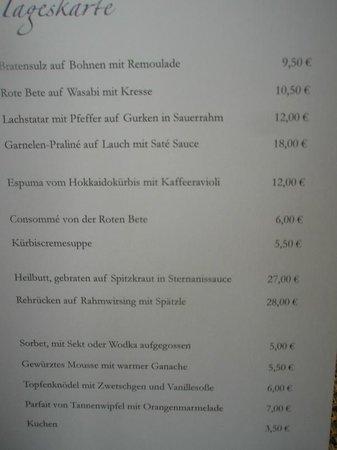 Mühlberger Restaurant: Auszug auf der Speisekarte - immer wechselnd
