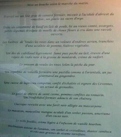 Les Galets : menu