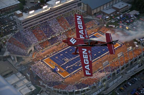 Bronco Stadium: With Greg Poe Over The Blue Before Oregon vs BSU game