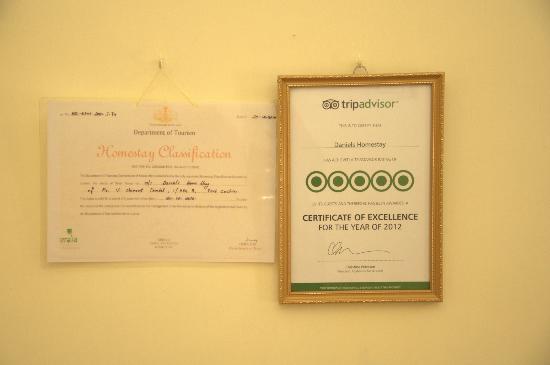 Daniels Homestay : TripAdvisor certificate