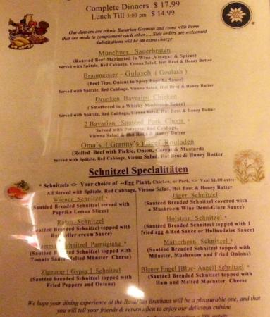 Bavarian Brathaus of Durham: partial menu