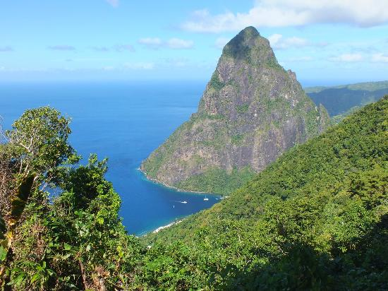 Tet Paul Nature Trail: The Petit Piton from one of the 3 viewpoints at Tet Paul.