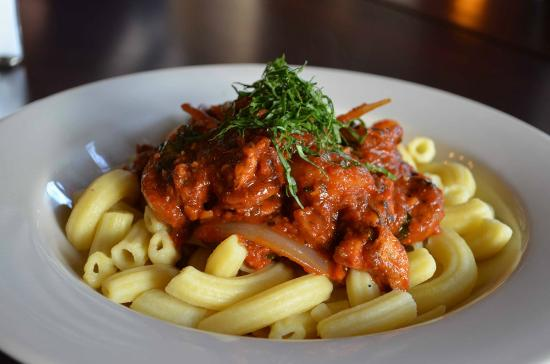 Calabrese Pasta Shrimp Sausage Chicken On A House Made Semolina Pasta Picture Of Enzios