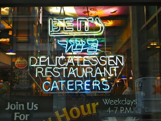 Ben's Kosher Delicatessen Restaurant & Caterers: Neon Window Sign