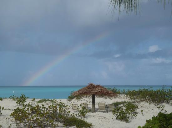 The Meridian Club Turks & Caicos: rainbow over our palapa