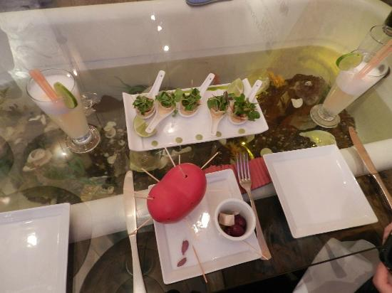 The Guest House at Fallen Angel: Dinner (aquarium table)