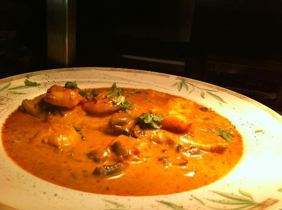 Hussain's: Haddock, tiger prawns and mushrooms finished with cream and saffron