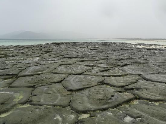 奥武島畳石 黒い五角形や六角形...