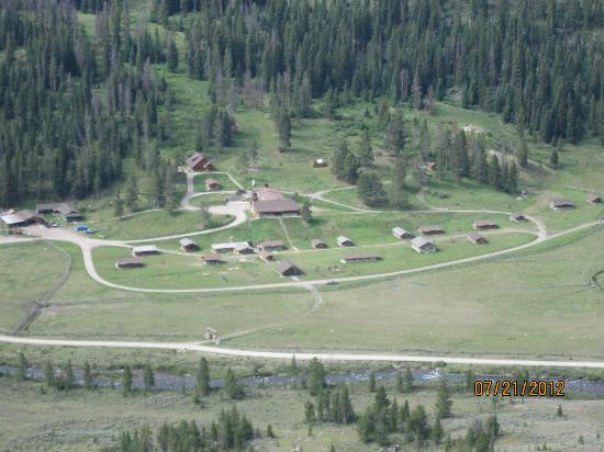 Nine Quarter Circle Ranch: looking down at the ranch