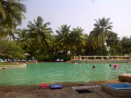 Taj Exotica Goa: The awesome pool with the volley ball net in the background