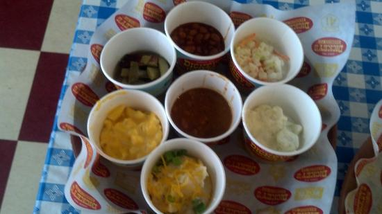 Dickey's Barbecue Pit: All sides in one sample plate. (not a menu item)