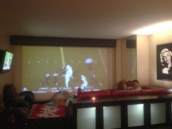 tv projector screen. elara by hilton grand vacations: projector screen tv over the window! amazing!