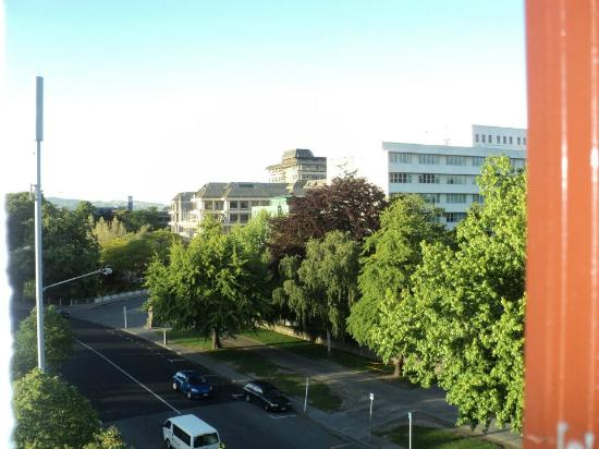 Christchurch YMCA: Looking left toward the hospital out of my window