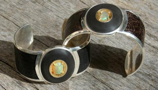 Anpa Jewellers: ethiopian opal, 24ct gold, silver, blackwood, ostrich leather cuff